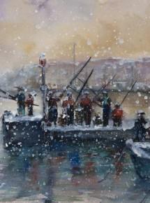 Fishing under snow