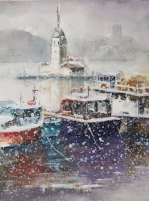 Maiden's tower and boats under snow