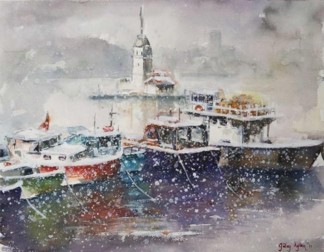 Kızkulesi ve tekneler karda