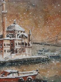 Ortakoy mosque under snow